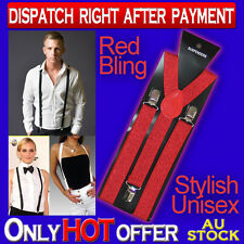 RED BLING WOMEN OR MENS CLIP ON ADJUSTABLE SUSPENDERS  UNISEX Y-BACK BRACES