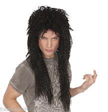 Longue Noir Glam Rock Punk Rocker 80 s Alice Cooper Slash Kiss perruque robe fantaisie