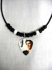 1956 COLOR ELVIS PRESLEY SINGING PHOTO GUITAR PICK PENDANT ADJ BEADED NECKLACE