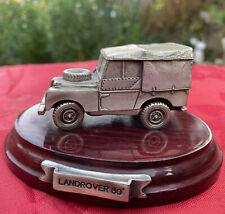 Mark Models Ltd - Fine Pewter Model Land Rover 80' On Wooden Plinth