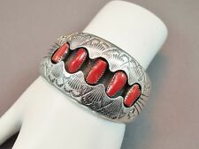 Vintage Native American Navajo Sterling Silver 5 Stone Coral Shadowbox Cuff