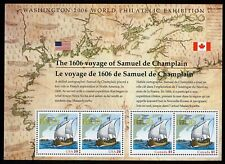 #4074 39c Voyage of Champlain, Souvenir Sheet, Mint