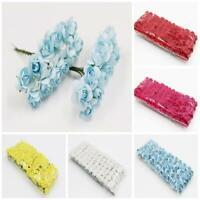 144X Mini Paper Faux Rose Flowers Handmade DIY Card Crafts Embellishment Bland