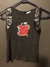 Girls Disney Store Apple Shirt Size 5/6 Desendants Black