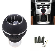 5 Speed Car Gear Shift Knob Black + Silver Leather Manual Lever Stick Shifter