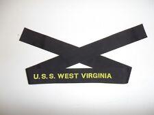 b3317 US Navy Hat Tally U.S.S. West Virginia USS Battleship BB 48 IR31B