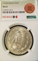 1923 MEXICO SILVER UN PESO NGC MS 62 EARLY DATE GOOD LUSTER NICE COIN !!!