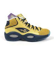 Reebok Question Mid EBC Iverson Rucker Park Mens 11 Gold Navy Bball Shoes BD3875