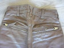 "KIDS Langlitz Leathers Motorcycle Pants Brown Goatskin 22""X27"" 7 zippers"