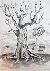 Vintage landscape modernist ink drawing