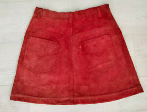 Vintage 1960s Levi's Big E Suede Mini-Skirt - Red - Size Small