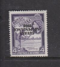 GUYANA 1967 INDEPENDENCE 4c WITH INVERTED OVERPRINT NEVER HINGED MINT