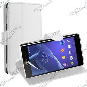 Case Cover Pocket Portfolio Holder Video White Leather sony Xperia M2