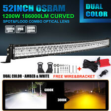 1200W 52In LED Curved Light Bar Dual Color White/Amber Strobe Warning Lamp 40/44