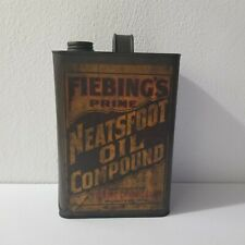 Fiebings Prime Neatsfoot Oil Compound 1 Gallon Oil Can PAPER LABEL Rare Early