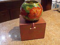 1997 Vintage Plique a Jour Cloisonne Brass Wire Enamel Rose Bowl Vase Flowers