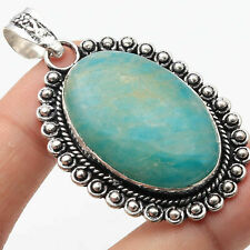 Amezonite Silver Plated Antique Style Pendant 2 Gemstone Jewelry W7635