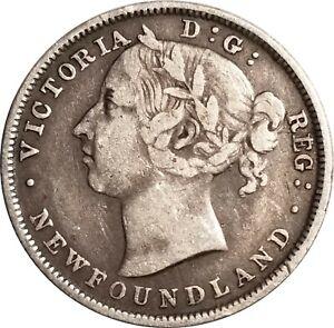 1888 Newfoundland Sterling Silver 20 Cent Piece, KM-4, Problem-Free Fine to VF