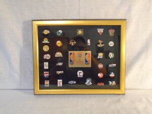 1989 Set Of 31 NBA Team Pins Collectors Framed Limited Edition Set Pin Lakers