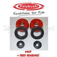 Polybush Front Strut Top Mounts -10mm +Free B/Rs for Seat Leon Mk1 1.9TDi 99-05