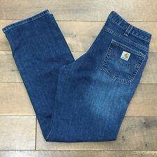 CARHARTT Women's Work Jeans WB016 Blue Denim Farm Ranch Size 10 x 32
