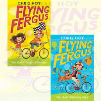 Flying Fergus Collection By Chris Hoy 2 Books Set The Great Cycle Challenge, New