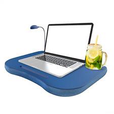 Laptop Lap Desk, Portable with Foam Filled Fleece Cushion, LED Desk Light, Cup