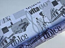 3M Organza  Imprimé Italie Dolcé Vita   largeur 150cm tissu souple ,fluide