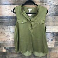 New H&m Women's Olive Green Sleeveless Hi - Low Hem Popover Top Size 14