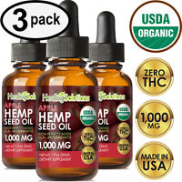 APPLE Hemp Oil Drops for Pain Relief, Stress, Anxiety, Sleep - (3 PACK)