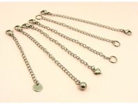 STAINLESS STEEL Necklace Safety CHAIN EXTENDER Extension ~Lobster Clasp + Drop~
