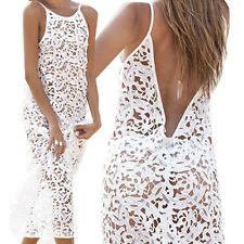 2017 Summer Women Sleeveless Evening Party Dress Beach Dresses Long Lace Dress