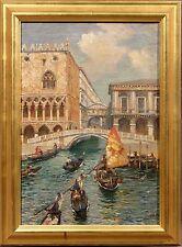 19th Century Italian Oil Painting by Luigi Lanza of Venice Canal Scene 1860-1913