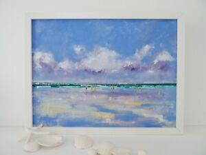 Beach at Low Tide, Original Oil Painting, Version 3, framed, 43 cm x 33 cm