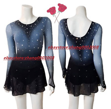 Gradient Color Gray to Black Ice Skating Dress/Dance Baton Twirling Costume