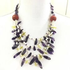 Multi-strand Necklace Amethyst, Pearl, Coral And Jade with Amethyst SS Earrings