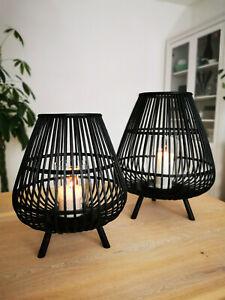 XL Bambuslaterne Bambus Laterne Windlicht Kerze Garten Deko Schwarz Outdoor