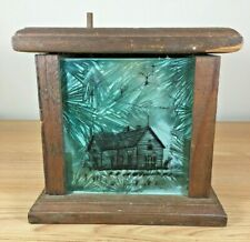Vintage Handmade Wood Light Box Glass Country House Scene Candle Rustic Decor