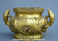 Chinese fengshui old Bronze lotus flower lotus root statue incense burner censer