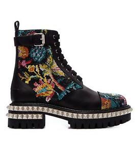 Christian Louboutin King Street Combat boots with Crystals Black Multi
