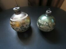 2 Vintage Shiny Brite Mercury Glass Ornaments - Peace on Earth & Christmas Cheer