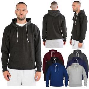 Mens Boys Fleece Plain Hoodie Sweatshirt Hooded Pull over Casual Gym Adult Top
