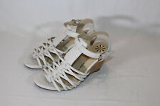 Isaac Mizrahi Leather Fisherman Wedge Sandals shimmer 6 WIDE CREAM PO