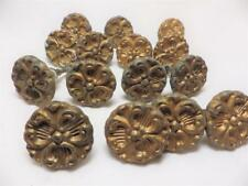 15 Vintage Metal Draw Pulls Knobs Embossed Floral W932