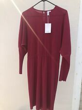 & Other Stories | DRESS | ribbed pleats batwing Sz 12 burgundy NWT Please miyake