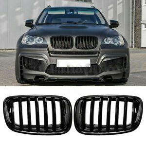 For BMW X5 E70 X5M X6 E71 E72 2007-14 13 Front Gloss Black Kidney Grill Grilles