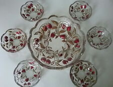 Northwood Strawberry Intaglio Lg Berry Bowl & Six Small Bowls Goofus Glass 7 pc.
