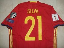 SPAIN MATCH WORN SHIRT SILVA WORLD CUP QUALIFIER RUSSIA MANCHESTER CITY VALENCIA