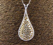 Fancy Yellow Pear Cluster Diamond Fashion Pendant w/Chain 14K Yellow Gold 8.32Ct