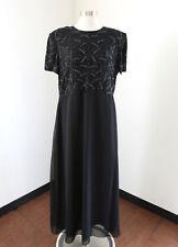 J Kara Black Contrast Sequin Beaded Evening Dress Formal Gown Sz 16 Short Sleeve
